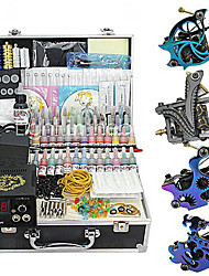 4 Guns Tattoo Kit with LCD Power and 55 Color Ink