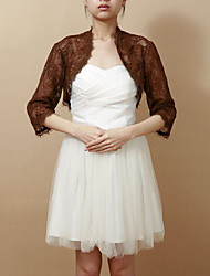 Wedding  Wraps Coats/Jackets 3/4-Length Sleeve Lace Chocolate Wedding / Party/Evening T-shirt Open Front