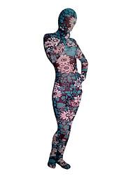 Blu e Rosa Fiore modello Spandex Full Body Zentai