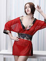 Profunda impressão V Kimono manga comprida (Cintura :68-84cm, comprimento: 168cm)
