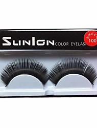 1 Pair Black Machine Made False Eyelashes SL0100