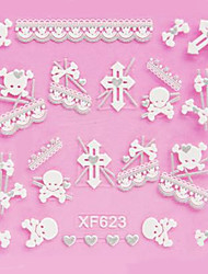4PCS 3D White Lace Nail Stickers Résumé