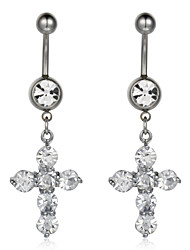 Charming Surgical Steel Cross Design Crystal Belly Ring