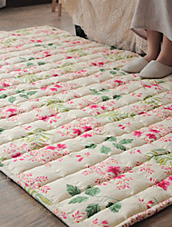 6.5' Floral Pattern Quilted Cotton Bonded Rug