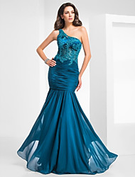 TS Couture® Military Ball / Formal Evening Dress - Ink Blue Plus Sizes / Petite Trumpet/Mermaid One Shoulder Floor-length Chiffon / Tulle