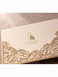 Sample Gorgeous Lace Cut-out Wedding Invitation In Gold (One Set)