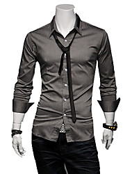 Men's Solid Casual Shirt Long Sleeve Black / White / Gray