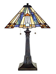 60W Artistic Tiffany Glass Light with Resin Stand