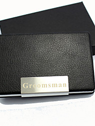 Personalized Business Card Holder With Red Leatherette Cover