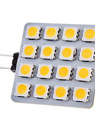 G4 2W 150-180lm 16x5050SMD 3000-3500K lumière blanche chaude Ampoule LED Spot (12V)