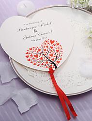 Personalized Heart Shaped Papier Hand Fan - Red Hearts (Set von 12)