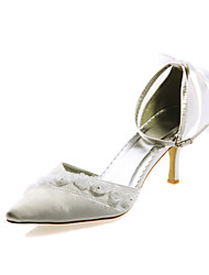 Top Quality Satin Upper High Heel Closed-toes With Rhinestones Wedding Bridal Shoes