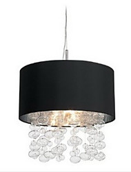 420W Modern Pendant Light with 7 Lights and Black Fabric Drum Shade (E14/E12 Base)
