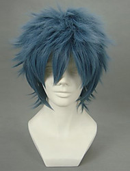 Cosplay Wigs Gintama Bansai Kawakami Blue Short Anime Cosplay Wigs 32 CM Heat Resistant Fiber Male
