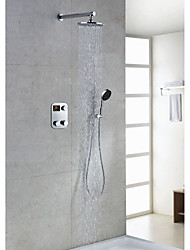 Contemporary Thermostatic LCD Digital Display 8 inch Round Showerhead + Handshower