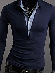 Men's Shirt Collar Cotton Long Sleeve T-shirt