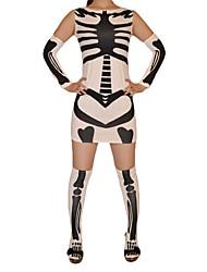 Esqueleto Patrón de lycra vestido blanco y Negro