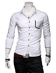 Causal homens às bolinhas camisa de manga longa fino
