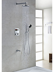 Contemporary Thermostatic LED Digital Display Shower Faucet with 8 inch Round Showerhead + Handshower