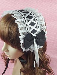 Handmade Preto Algodão Branco Maid 34 centímetros Cosplay Lolita Headband