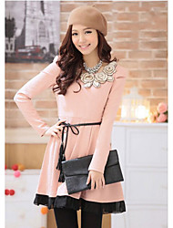 Korean Style Ladies Waist Dress(Pink)
