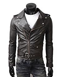 pu jaqueta de almofada de ombro de couro dos homens