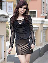 ZHI YUAN Glittering Collar Cowl Dress empalme manga larga (más colores)