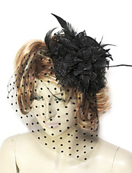 Women's Lace / Feather / Tulle / Flannelette Headpiece-Wedding / Special Occasion Fascinators