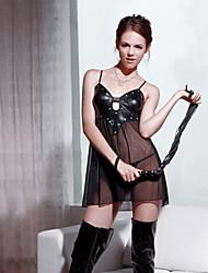 Damen Lackleder Splicing Mesh-Slip (Bust: 84cm-88cm Länge: 72cm)