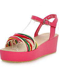 Spring / Summer / Fall Leatherette Casual Platform Buckle Blue / Yellow / Red / Ivory