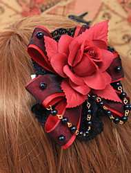 Red Handmade Rose Black Lace Gothic Lolita Headpiece