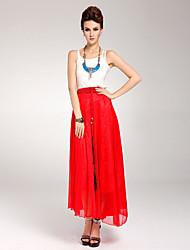 Frauen kräuselte Maxi Skirt