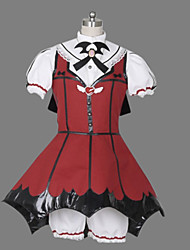 Uma-Peça/Vestidos Gótica Lolita Cosplay Vestidos Lolita Patchwork Manga Curta Comprimento Curto Blusa Vestido Calções Bandana Luvas Para