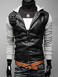 Men's Stand PU Leather Slim Hoodie Contrast Color Jacket