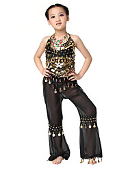 Performance Dancewear Chiffon with Coins Belly Dance Outfit Top and Bottom For Children More Colors