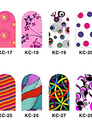 12PCS 3D Full-cover Nail Art Stickers Flash Powder Flower Series(NO.3,Assorted Color)