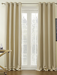 One Panel  Beige Solid Classic Blackout Curtain