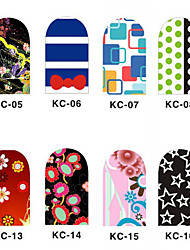 12PCS 3D полным покрытием ногтей Наклейки внезапный порошок Цветок серии (№ 2, разных цветов)
