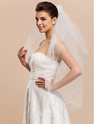 Two-tier Fingertip Wedding Veil With Ribbon Bowknot And Pencil Edge
