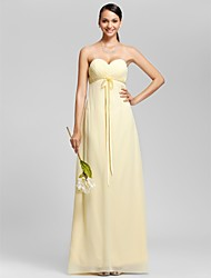 Floor-length Chiffon Bridesmaid Dress - Plus Size / Petite Sheath/Column Strapless / Sweetheart