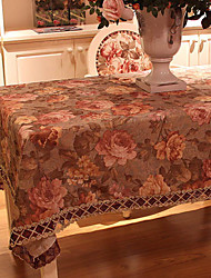 Elegant European Floral Pattern Poly / Cotton Table Cloth