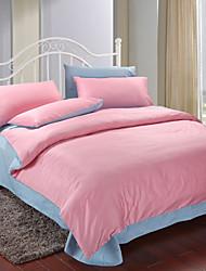 4 peças-de-rosa e azul de algodão edredon conjunto de capa de impressão