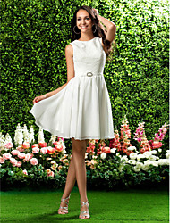 Lanting Bride® Knee-length Chiffon / Lace Bridesmaid Dress - A-line / Princess Jewel Plus Size / Petite with Draping / Crystal Brooch