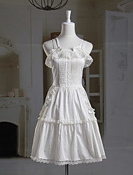 Sleeveless Short White Cotton Princess Lolita Dress