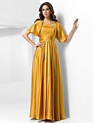 TS Couture® Military Ball / Formal Evening Dress - Gold Plus Sizes / Petite A-line / Princess Scoop Floor-length Stretch Satin