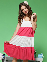 Women's Sexy Full Cotton Big Size White And Red Chemises & Gowns