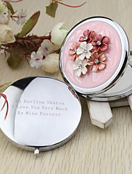 Personalized Spring Flower Chrome Compact Mirror Favor