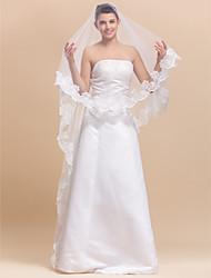 1 Layer Marvelous Waltz Wedding Veil With Lace Applique Edge