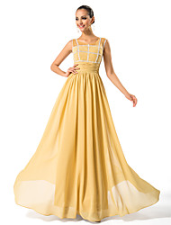A-line Plus Sizes Mother of the Bride Dress - Gold Floor-length Sleeveless Chiffon
