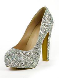 Feminino Wedding Shoes Saltos/Plataforma Saltos Social Preto/Amarelo/Verde/Roxo/Branco/Champagne